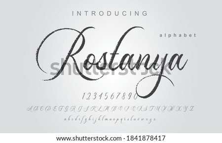 Rostanya Font. Elegant alphabet letters font and number. Classic Lettering Minimal Fashion Designs. Typography modern serif fonts regular uppercase lowercase and numbers. vector illustration Royalty-Free Stock Photo #1841878417