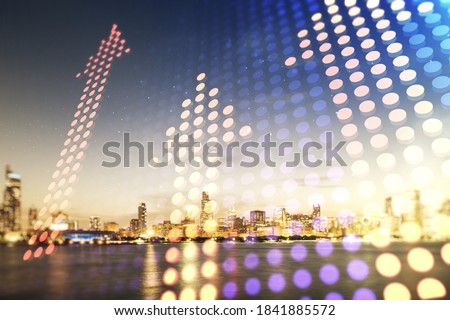 Double exposure of abstract virtual upward arrows hologram on Chicago city skyscrapers background. Ambition and challenge concept Royalty-Free Stock Photo #1841885572
