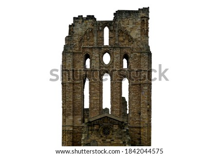 Ruins of Tynemouth Priory (Uk) isolated on white background Royalty-Free Stock Photo #1842044575