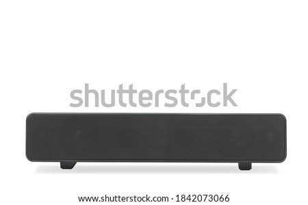 Black wireless sound bar speaker on isolated white background Royalty-Free Stock Photo #1842073066