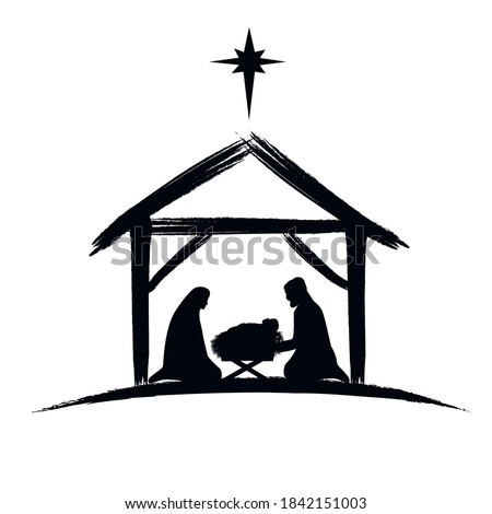 Nativity scene silhouette banner design with manger cradle for baby Jesus, holiday Holly Night. Vector illustration for Christmas cut file scrapbook Royalty-Free Stock Photo #1842151003