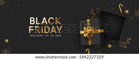 Black Friday Super Sale. Realistic black gifts boxes. Empty open gift box top view with gold bow. Dark background golden text lettering. Horizontal banner, poster, header website. vector illustration Royalty-Free Stock Photo #1842227329