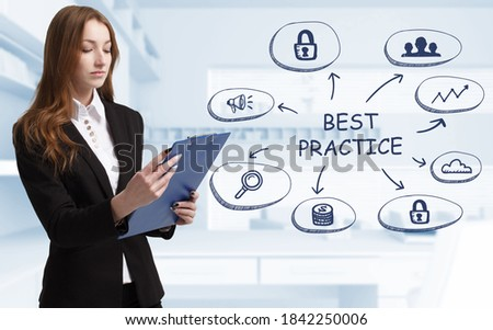Business, technology, internet and network concept. Young businessman thinks over the steps for successful growth: Best practice Royalty-Free Stock Photo #1842250006