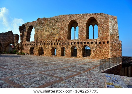 ruins of the norman castle in san marco d'alunzio sicily italy Royalty-Free Stock Photo #1842257995