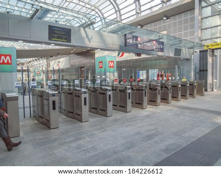 TURIN, ITALY - MARCH 11, 2014: Passengers in the new Torino Porta Susa main railway and subway station #184226612