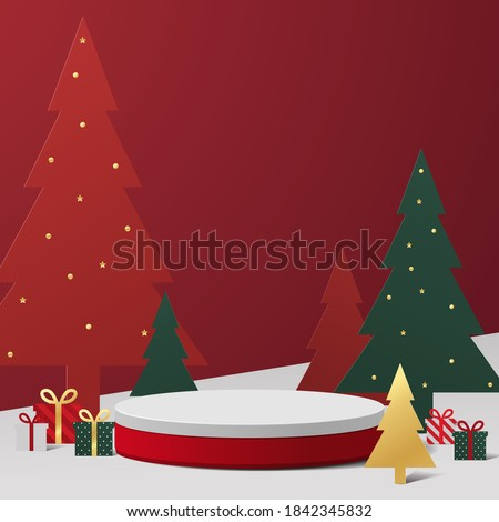 Abstract minimal mock up scene. geometry podium shape for show cosmetic product display. stage pedestal or platform. winter christmas red background with tree xmas. 3D vector #1842345832