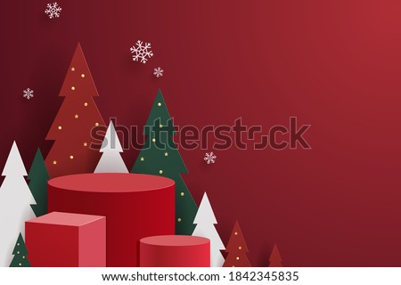 Abstract minimal mock up scene. geometry podium shape for show cosmetic product display. stage pedestal or platform. winter christmas red background with tree xmas. 3D vector #1842345835