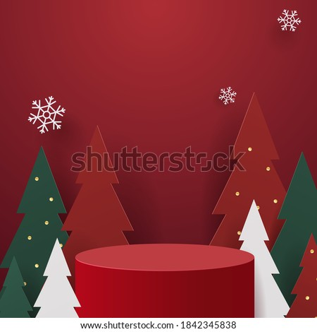 Abstract minimal mock up scene. geometry podium shape for show cosmetic product display. stage pedestal or platform. winter christmas red background with tree xmas. 3D vector #1842345838