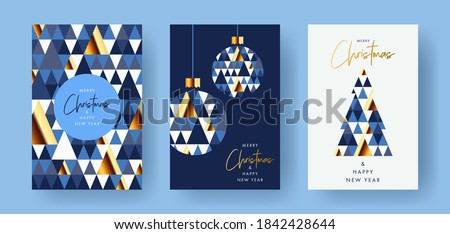 Merry Christmas and Happy New Year Set of greeting cards, posters, holiday covers. Modern Xmas design with triangle firs pattern in blue, gold, white colors. Christmas tree, ball, decoration elements Royalty-Free Stock Photo #1842428644