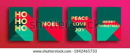 Set of Luxury Christmas Cards - Merry Christmas card set with luxury gold foil typography lettering. Christmas cards or invitation with 'HO HO HO' 'Merry Christmas' ' Noel' 'Peace Love Joy'  #1842465733