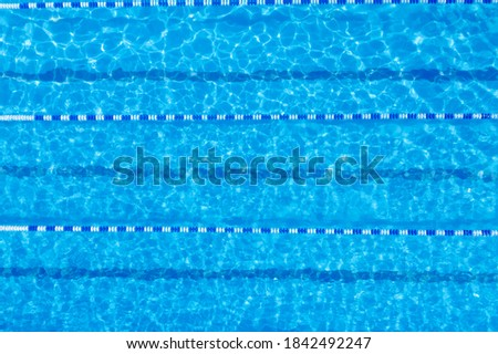 Swimming pool with racing lane dividers, top view Royalty-Free Stock Photo #1842492247