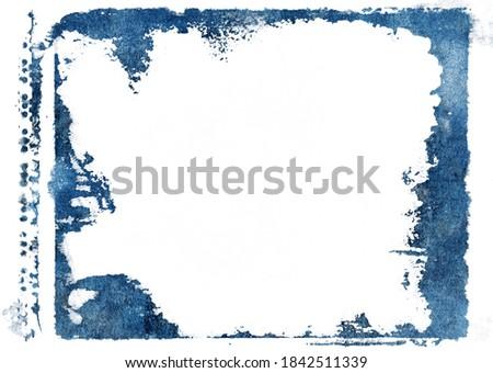 blue grunge photo frame on white