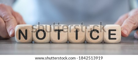 Word notice on wooden cubes Royalty-Free Stock Photo #1842513919