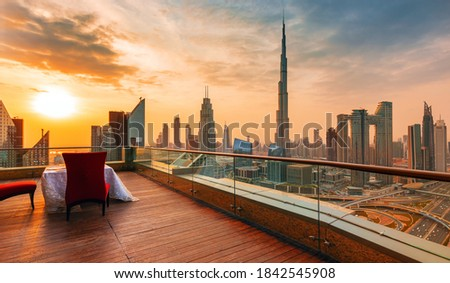 Amazing sunrise view on Dubai city center skyline, United Arab Emirates Royalty-Free Stock Photo #1842545908