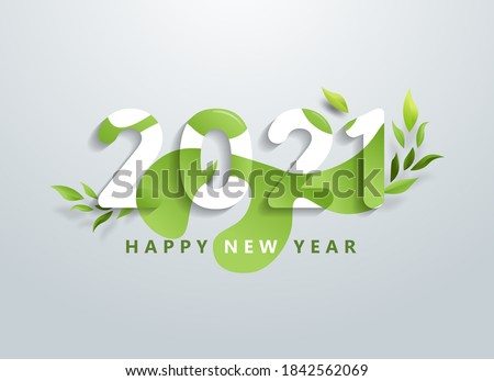 Happy 2021 new year with natural green leaves banner. Greetings and invitations, New year Christmas friendly themed congratulations, cards and natural background. Vector illustration. #1842562069