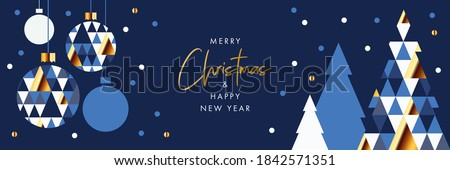 Merry Christmas and Happy New Year banner, greeting card, poster, holiday cover, header. Modern Xmas design in geometric style with triangle pattern, Christmas tree, ball, snow on night sky background #1842571351