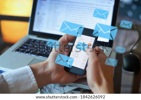 email marketing concept, person reading e-mail on smartphone, receive new message Royalty-Free Stock Photo #1842626092