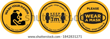 Wash your hands keep safe distance wear a mask sign Royalty-Free Stock Photo #1842831271