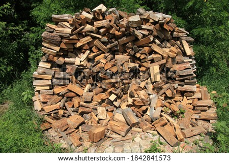 Heap or island of firewood. Alternative and cheap energy source for heating. Heating season. Wooden logs. Wooden fuel. Stock of renewable resources for the winter when energy prices rise