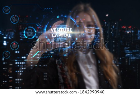 Business, technology, internet and network concept. Young businessman thinks over the steps for successful growth: Venture capital Royalty-Free Stock Photo #1842990940