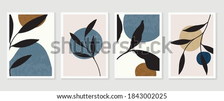 Botanical wall art vector set. Earth tone boho foliage line art drawing with  abstract shape.  Abstract Plant Art design for print, cover, wallpaper, Minimal and  natural wall art.  Royalty-Free Stock Photo #1843002025
