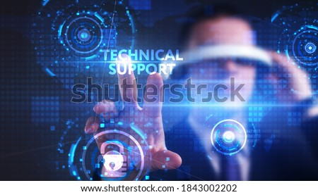 Business, technology, internet and network concept. Young businessman thinks over the steps for successful growth: Technical support #1843002202