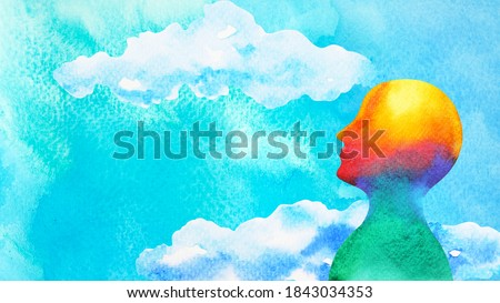 human head in blue sky abstract art mind mental health spiritual healing  free freedom feeling watercolor painting illustration design drawing