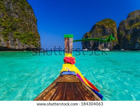 Traditional longtail boat in Maya bay on Koh Phi Phi Leh Island, Krabi, Southern of Thailand #184304063