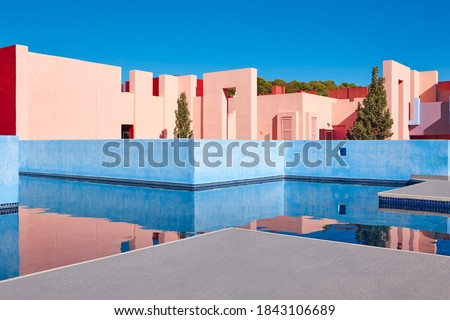 Geometric building structure. The red wall, Calp, Spain