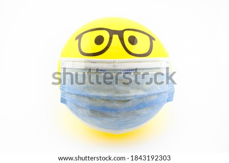 Face with Medical Mask cartoon bubble emoticons for social media chat comment reactions, icon template emoji character