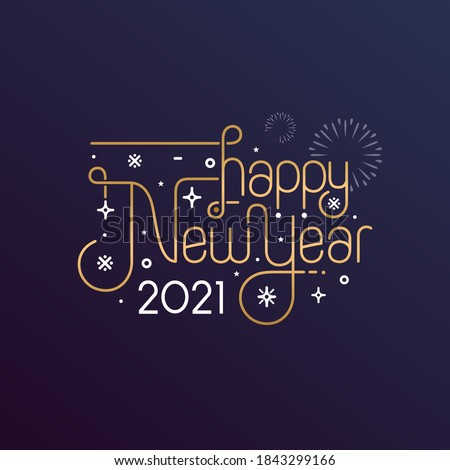 Happy New Year 2021 vector illustration for banner, flyer and greeting card #1843299166