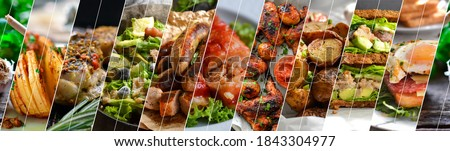 Collage of many popular all over the world breakfasts, lunches and snacks. Collage of different assortment of food. Royalty-Free Stock Photo #1843304977