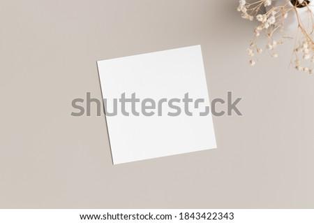 Square invitation card mockup with gypsophila. Royalty-Free Stock Photo #1843422343