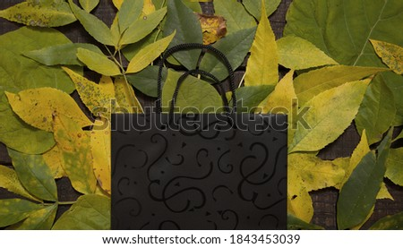 Shopping bag with empty space for text on autumn background from dry leaves. Black Friday backdrop. Deal concept. Mock-up for conceptual message. Top view. Flat lay