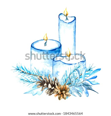 Watercolor clip art of Christmas candles with foliage decor