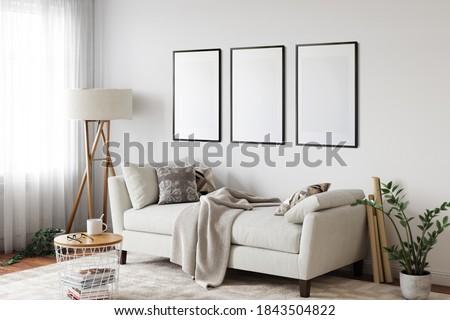 Frame mockup in scandinavian interior. Interior mockup. 3d rendering, 3d illustration