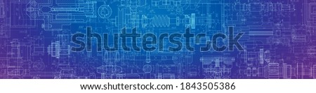Engineering drawing .Parts for industrial construction. Technology Background.Mechanical.Vector illustration. Royalty-Free Stock Photo #1843505386