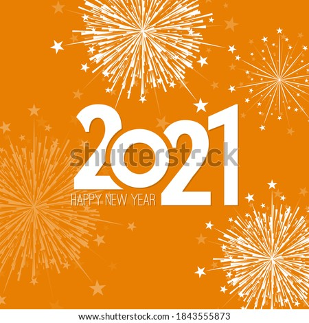 Creative happy new year 2021 with bursts of white fireworks. Vector illustration. #1843555873