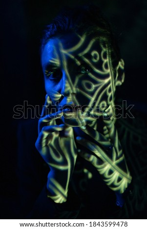 Portrait in the style of light painting. Long exposure photo