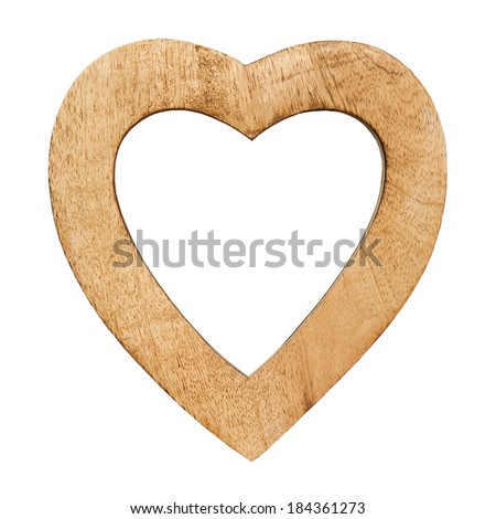 wooden heart with empty spaces isolated on white