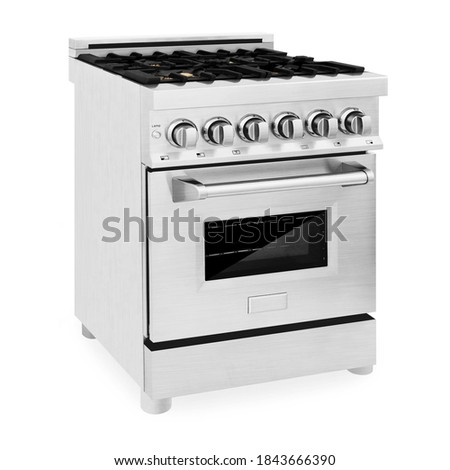 Freestanding Duel Fuel Gas Range Cooker Isolated on White. Stainless Steel Kitchen Stove Side Front View. 24 inch 2.8 Cu. Ft. Range with Baking Drawer & Four Burner Cooktop. Domestic Major Appliances Royalty-Free Stock Photo #1843666390