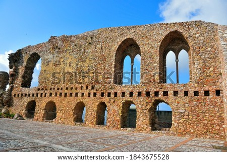 ruins of the norman castle in san marco d'alunzio sicily italy Royalty-Free Stock Photo #1843675528
