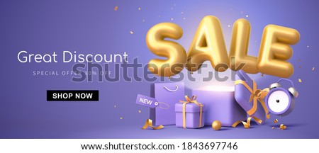 Great discount banner design with 3d rendering golden SALE balloon phrase on purple background with gift box, shopping bag and alarm clock elements #1843697746