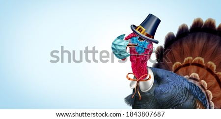 Healthy Thanksgiving banner as a seasonal sign with a turkey tom or gobbler wearing a medical face mask and surgical facial protection for virus disease prevention with 3D illustration elements.
