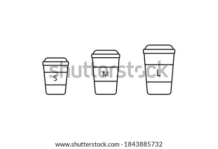 Coffee to go different sizes, S M L sizes coffee cup simple thin line icon vector illustration