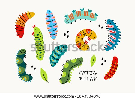 Various spring and summer colorful Caterpillars. Different silhouettes and shapes. Cute funny insects. Pretty colored characters. Hand drawn trendy Vector illusatrtion. All elements are isolated