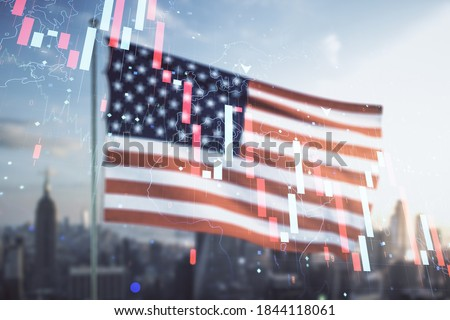 Double exposure of abstract virtual global crisis chart and world map hologram on USA flag and blurry cityscape background. Financial crisis and recession concept Royalty-Free Stock Photo #1844118061