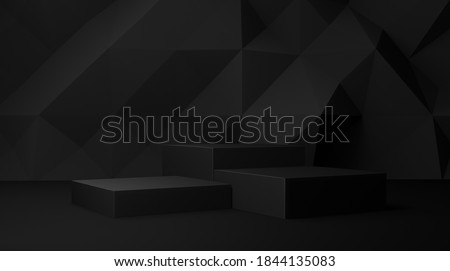 Dark black 3d background with geometric shapes, podium on the floor. Platforms for product presentation, background. Abstract composition design, showcase product is black , copy space