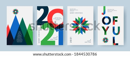 Merry Christmas and Happy New Year Set of backgrounds, greeting cards, posters, holiday covers. Design templates with typography, season wishes in modern minimalist style for web, social media, print #1844530786