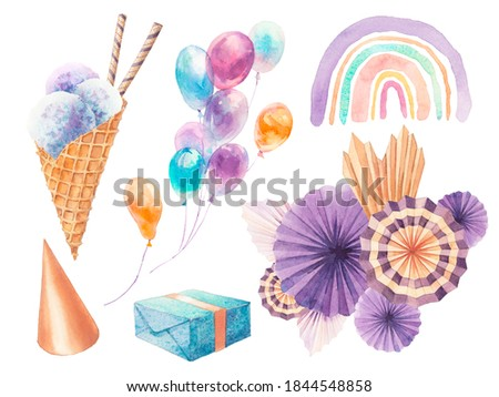 Watercolor illustration with party elements. Hand painted objects isolated on white background. Air balloons, present box, cone hat, paper decor, ice cream, rainbow